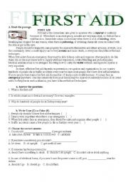 First aid worksheets for middle school