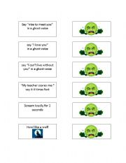 Scary Things Board Game Punishment Card Set - ESL worksheet by