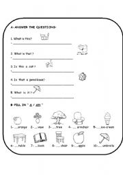 English Worksheets: PLURALS/ A-AN / THIS-THAT