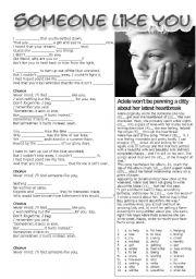 English Worksheet: Someone Like You