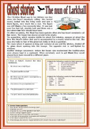 English Worksheet: GHOST STORIES: THE NUN OF LARKHALL
