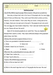 English Worksheets: Reading comprehension passage with questions