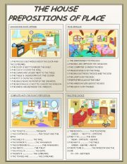 English Worksheet: THE HOUSE: PREPOSITIONS OF PLACE
