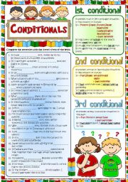 English Worksheet: Conditionals - Revision (Greyscale + KEY included)