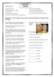 English Worksheet: Basketball - newspaper article