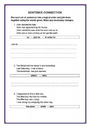 English Worksheets:  Sentence connection