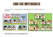 English Worksheet: FIND THE DIFFERENCES-THE FAMILY