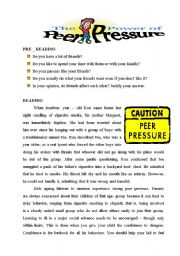 English Worksheets: avoiding peer prssure