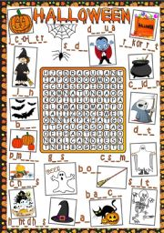 English Worksheet: Halloween - WOEDSEARCH (Greyscale included)
