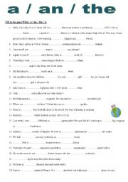 Grammar worksheets > Articles > A/an/the