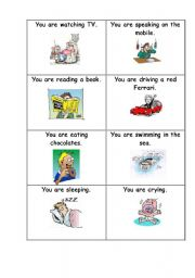 English Worksheets: Cards actions miming