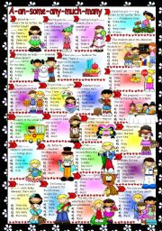 English Worksheet: A-AN-SOME-ANY-MUCH-MANY