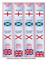 English Worksheet: THE uNION jACK IN A BOOKMARK