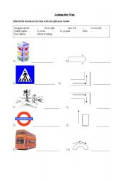 English Worksheet: Asking the Way - Match the words and the pictures