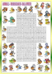 ANIMALS - HALLOWEEN - wordsearch -FOR BEGINNERS
