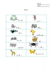 English Worksheets: animals fill in