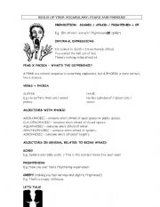 English Worksheet: fears and phobias