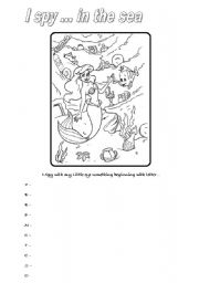 English Worksheets: I spy... IN THE SEA