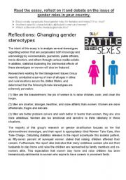 English Worksheets: The Battle of the Sexes