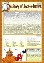 English Worksheets: THE STORY OF JACK-O-LANTERN.