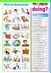 English Worksheets: What are these people doing?  (Present Continuous)