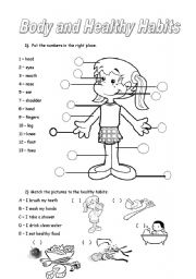 English Worksheets: body parts and healthy habits