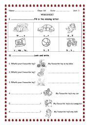 English worksheet: toys for children