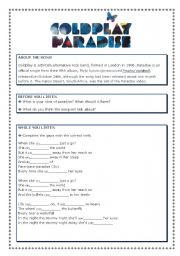 English Worksheet: Paradise - song by Coldplay
