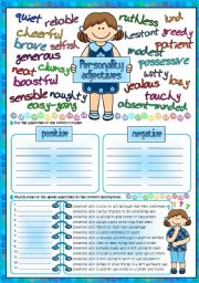 English Worksheet: Personality adjectives (Greyscale + KEY included)