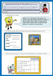 English Worksheet: Test ID, family 5th grade