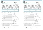 English Worksheet: Exam 4th grade colors numbers and toys