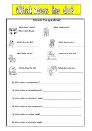 English worksheet: WHAT DOES HE DO?  JOBS
