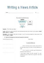 English Worksheet: Writing a News Article