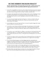 English Worksheet: Death Penalty Scenarios