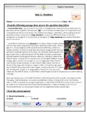 reading comp. about Messi