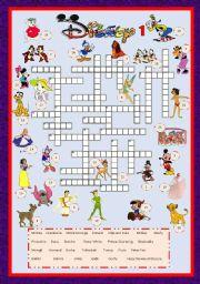 English Worksheet: Cartoon Series 3 - Disney characters crossword 1 + key