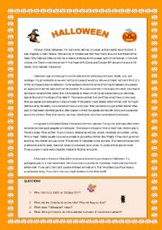 English Worksheets: HALLOWEEN, CUSTOMS AND TRADITIONS. YOLANDA