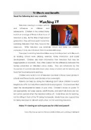 English Worksheet: TV effects and benefits