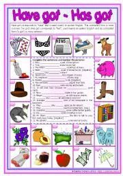 English Worksheet: Have got / has got *editable