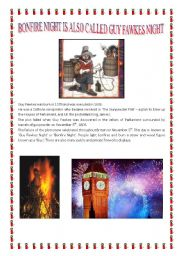 English Worksheet: BONFIRE NIGHT IS ALSO CALLED GUY FAWKES NIGHT