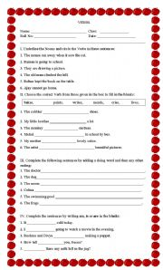 English Worksheet: Agreement of the verb with the subject