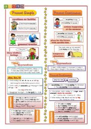English Worksheet: Present Simple vs Present Continuous (info+exercises)