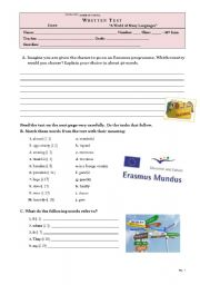 English Worksheet: TEST - 10th grade ERASMUS EXCHANGE PROGRAMME (key included)