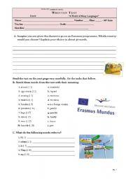 English Worksheet: TEST - 10th grade ERASMUS EXCHANGE PROGRAMME (key included)