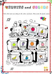English Worksheet: Fun Fruit Train