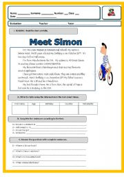 1st test- 6th grade -Meet Simon!