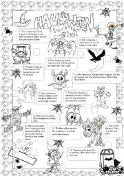 English Worksheets: Kids at Halloween party