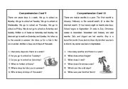 English Worksheets: Comprehension Cards