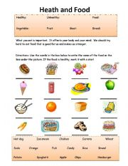photo about Food Safety Printable Worksheets known as Physical fitness and Meals - ESL worksheet as a result of Amy Trainer