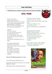English Worksheets: The evil twin